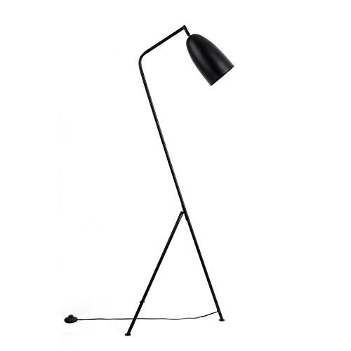 Black Velvet Studio Stehlampe Mr. Smith aus Metall, schwarz, Retro-Style, 150x32x32 cm.