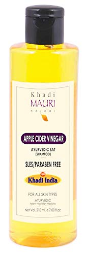 Mauri Herbal Apple Cider Vinegar Shampoo - Enriched with Amla & Tulsi - SLES & PARABEN FREE - Prevents Hairfall, Fights Dandruff, Boosts Silkiness - 210 ml