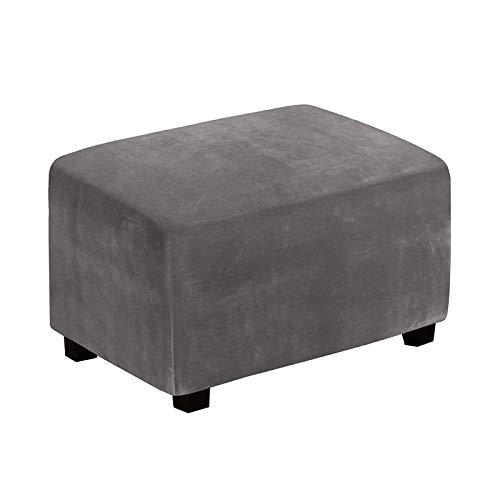BANGSUN Fundas otomanas elásticas de terciopelo para sala de estar, taburete de pie, tela de felpa, color gris