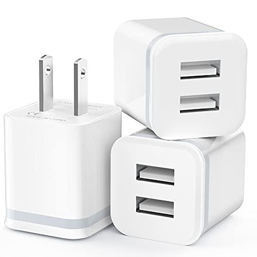 LUOATIP - Cargador de pared USB (3 unidades, 2,1 A/5 V, puerto dual, adaptador de corriente USB, cargador de bloque, caja de carga, ladrillo para teléfono SE 11 Pro Max Xs/XR/X, 8/7/6 6S Plus, Samsung, LG, HTC, Moto, teléfonos Android