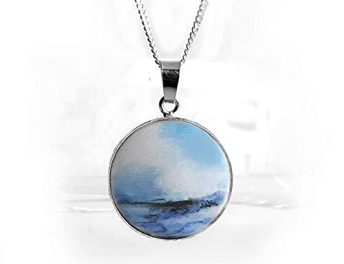 Kleines Miniaturbild, Meeresbild Halskette, Silber & Holz, Handbemalter Anhänger, Handmade, Schmuck & Kunst