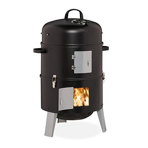 Relaxdays Smoker 3in1, zum Grillen, Räuchern & Garen, Thermometer & Luftabzug, BBQ Räuchertonne: ∅ 40 cm, Stahl, schwarz