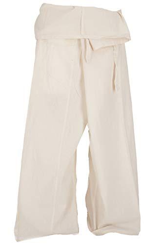 Guru-Shop, Pantaloni da Pescatore Thailandese in Cotone, Pantaloni Avvolgenti, Pantaloni da Yoga - M/L Bianco Sporco, Dimensione Indumenti:One Size, Pantaloni da Pescatore Pantaloni da Yoga