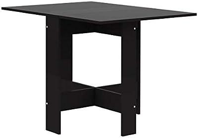 Papillon, Table Pliante avec 2 abattants, en Panneaux de Particules Melaminés, Noir, 103/67/28x76x73,4 (LxPxA)