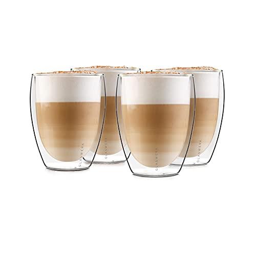 GLASWERK Design Latte Macchiato Gläser (4 x 330ml) - doppelwandige Gläser...