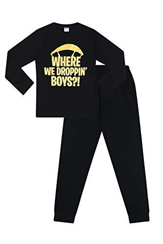Where We Droppin Jungen Gaming-Pyjama, Baumwolle, lang, Schwarz / goldfarben Gr. 13 - 14 Jahre, Schwarz