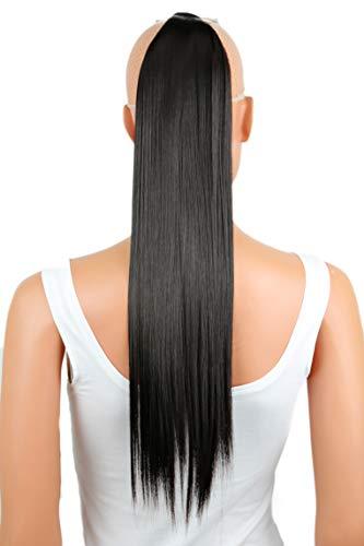 PRETTYSHOP 60cm Haarteil Zopf Pferdeschwanz Haarverlängerung Glatt Schwarzbraun HCK2