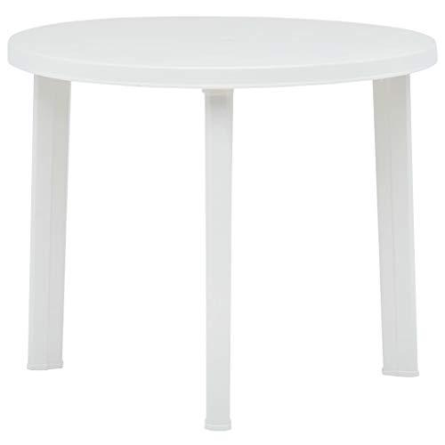 Tidyard Table de Jardin Exterieur/Table a Manger Ronde 89 cm en Plastique Blanc