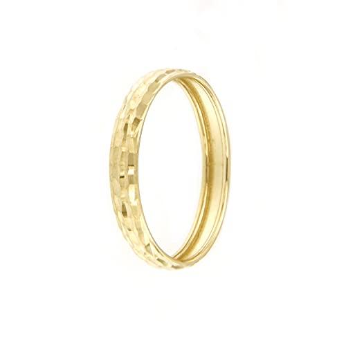 Lucchetta Anelli d'Oro per Donna, Anello Fedina in Oro Vero con Effetto Brillante Diamantato | misure 10 12 14 16 18 20 22 |, Gioiello Made in Italy