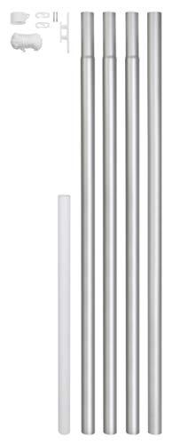 GAH-Alberts 639693 Fahnenmast | zylindrische Form | zum Einbetonieren | Aluminium, blank | Rohr-Ø 50 mm | Gesamthöhe 620 cm
