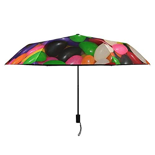 Bonito Paraguas Para Mujer Jelly Beans Caramelo Azúcar Dulces Verde Púrpura Rojo Paraguas Para Hombre A Prueba De Viento Compacto Portátil Ligero Paraguas A Prueba De Viento Mujeres Sol Llu