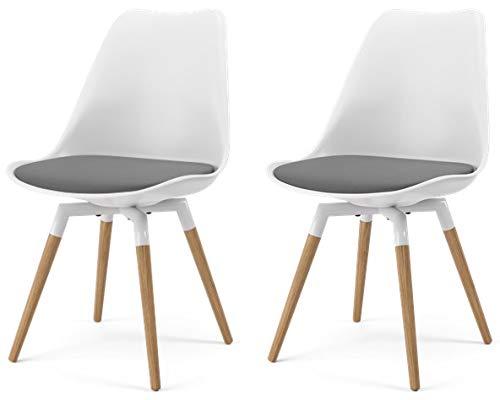 Tenzo 3254-413 2er-Set Designer Stühle, Kunststoff + Stoff und Holz, Weiss/Grau/Eiche, 83 x 48,5 x 54 cm (HxBxT), Schale : ABS Sitzfläche : Stoff-100% Polyester