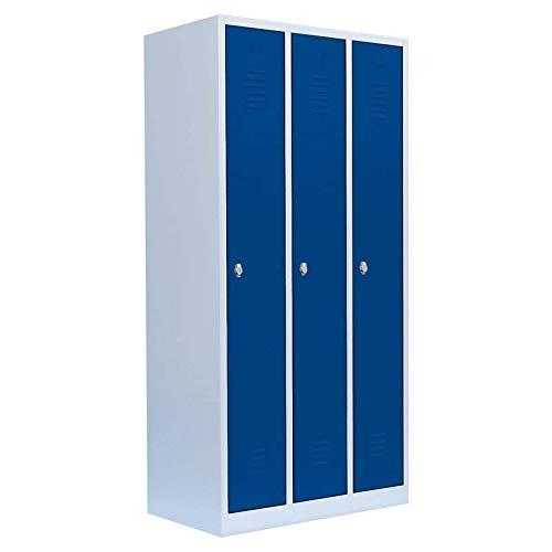 Lüllmann Spind Spint 3er Umkleide Stahl Kleiderschränke Gaderobenschrank 510131 blau 1800 x 885 x 500 mm (Höhe x Breite x Tiefe) kompl. montiert und verschweißt