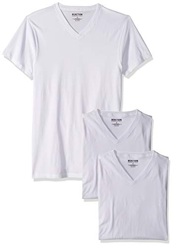 Kenneth Cole REACTION Men's Cotton Stretch V Neck T-Shirt, 3 Pack, Classic White, L