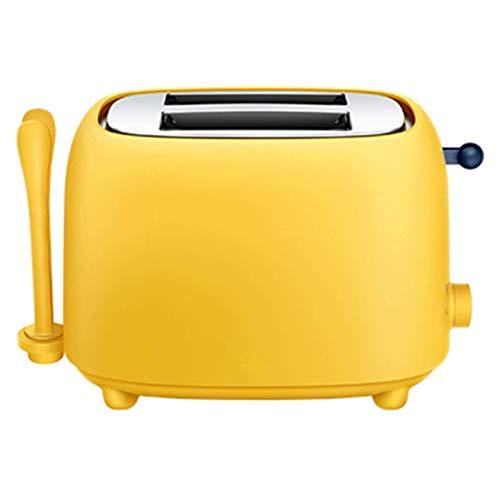 L&B-MR Tostadoras, Sandwichera, Toaster, Maquina De Desayuno con Clip De Pan Y Guardapolvo, 7 Niveles De Tostador Y Bandeja para Migas (Amarillo)