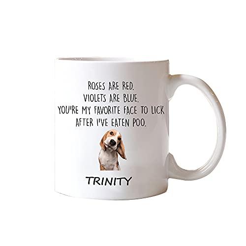 Gepersonaliseerde kleur veranderende mok aangepaste foto tekst magische mok 11 en 15 oz koffie mok cadeau voor hondenliefhebbers huisdier liefhebbers rozen zijn rood viooltjes zijn blauw citaten je bent mijn favoriete gezicht te likken