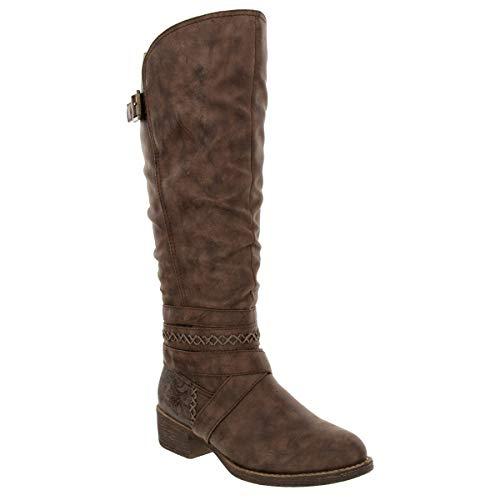 Sugar Women's Rhett Dress Block Heel Ankle Boot, Ladies Back Zip Bootie with Criss Cross Wraparounds Cognac 7
