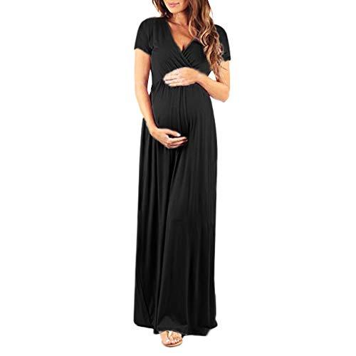 Manadlian Robe Robe Longue Femme Soiree, de Maternité Ete 2019 Robe Allaitement Grossesse Robe de Soirée Maxi Robe Manches Courtes Chemise de Nuit