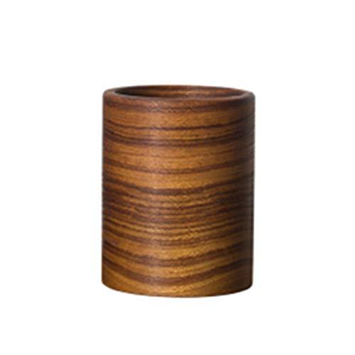 Dfghbn Stifthalter aus Teakholz, handgeschnitzt, aus massivem Holz, Stifthalter, Stifthalter für den Schreibtisch, Teakholz, Braun Zwei, 10x7.5cm