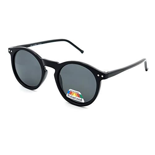 KISS Gafas de sol POLARIZADO estilo MOSCOT mod. WAVE Johnny Depp - fashion cult VINTAGE hombre mujer REDONDO unisex - NEGRO