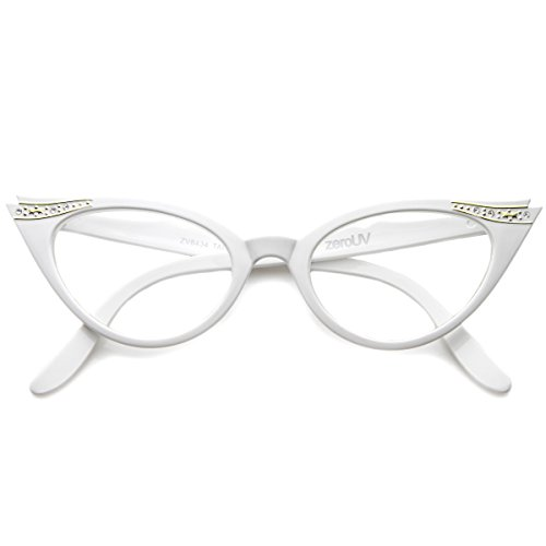 Vintage Cateyes 80s Inspired Fashion Clear Lens Cat Eye Glasses with Rhinestones (White)