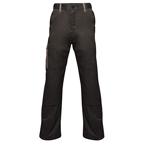 Regatta Mens Professional Contrast Cargo Hardwearing Triple Stitched Water Repellent Trousers BlackSeal Grey Size 46