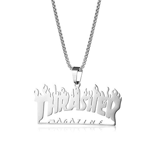Easenhub creative trend letter flame collar para niñas, hombres y mujeres pareja colgante collar de cadena regalo street quenching colgante accesorios