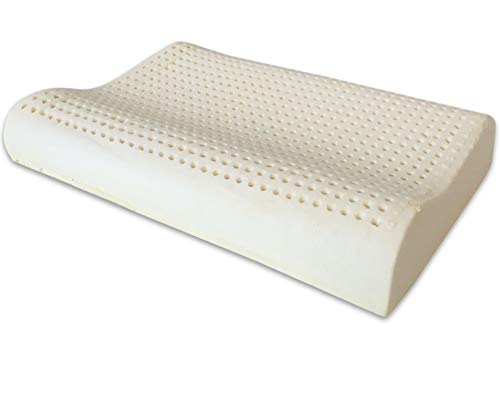 Marcapiuma - Almohada de Látex Modelo Ondulado 70x40 - Almohada Látex Descanso Natural y Sano - 100% Espuma de Látex - Ergonómica Alivia Las tensiones cervicales - 100% Fabricada en Italia