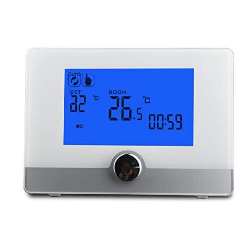 Huachaoxiang Termostato, Programable Digital para Termostato para Calentador De Calderas De Pared Controlador De Temperatura De Pantalla Inteligente,Gris