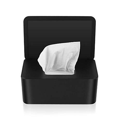 TOCYORIC Caja para Toallitas Húmedas, Dispensador de Toallitas Humedas, Caja de almacenamiento de pañuelos con tapa, Caja de almacenamiento de pañuelos a prueba de polvo para Oficina en casa (Negro)