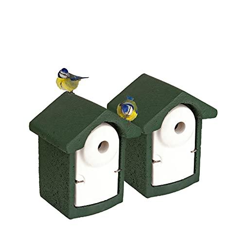 2x Nisthöhle Nistkasten Kleinvögel Einflugloch 28 mm Meisenkasten Meisen Kasten Vogelhaus Holzbeton