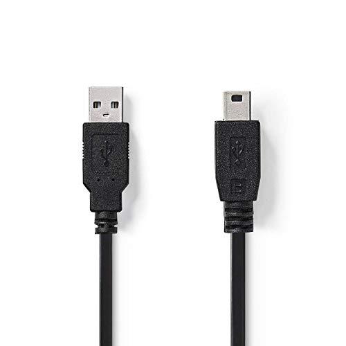 KnnX 28064   Cable USB 2.0   A Macho a Mini-B Macho   Longitud: 5 Metros   Paquete de 1   para cámera de Coche, dashcam, GPS navegador, Tether y más