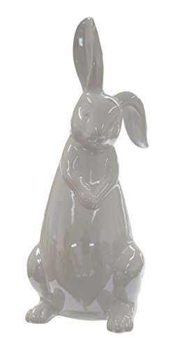 Keramik Deko-Figur Hase Schlappohr grau