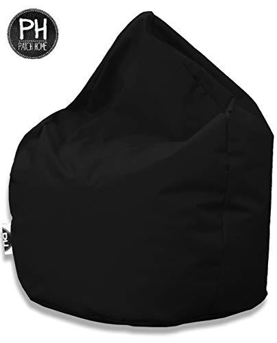 Patchhome Sitzsack Tropfenform - 3 Größen - 25 Farben XL - Höhe 105cm, Durchmesser 65cm Schwarz