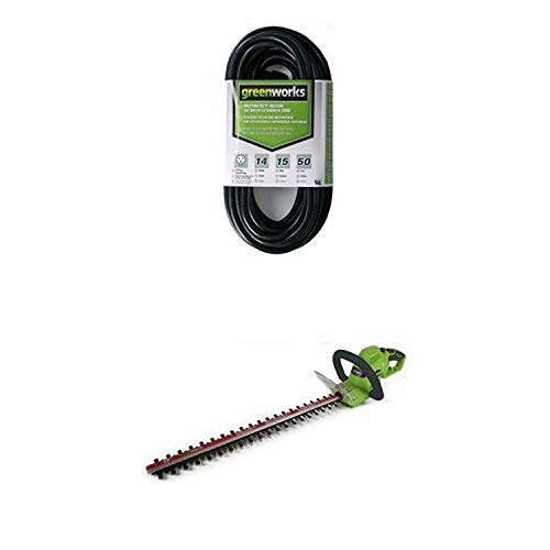 Greenworks 4 Amp 22-Inch Electric Corded Hedge Trimmer and 50' Indoor/Outdoor Extension Cord HT04B00
