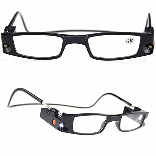 YSDQ Gafas de Lectura magnticas para Mujeres y Hombres, Lector porttil con Marco de Cuello Ajustable Lector ampliado con luz LED Reduccin de la Fatiga Ocular