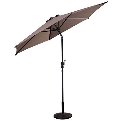 Costway Parasol de Jardin Hexogone Ø 300 CM Parasol Inclinable en Polyester + Feravec Manivelle pour Jardin Balcon, Plage,Terrasse et Piscine-Base Non Inclus (Brun)