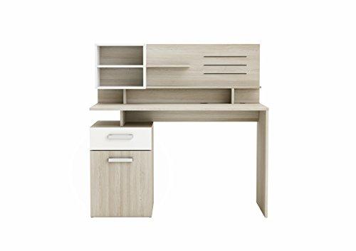 demeyere Single-Unit Schreibtisch + 1Top Abschnitt Malicia, Holz, Shannon Eiche/Pearl Weiß
