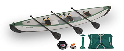 Sea Eagle TC16 Inflatable Travel Canoe 3 Person with Traditional Style Wood/Web Canoe Seats in Our Electric Pump Package