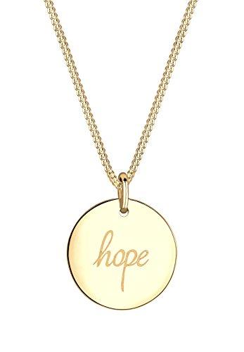 Elli Damen Schmuck Halskette Kette mit Anhänger Hoffnung Hope Schriftzug Wording Silber 925 Vergoldet Länge 45 cm