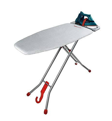"""ironmatik Space Saver Ironing Board - 44"""" X 15"""" Usage Area (Board Length 35"""") - Full Length 62"""" - Easy Storage, Adjustable Height, Heat Resistant Silicone Tray, Padded Top."""