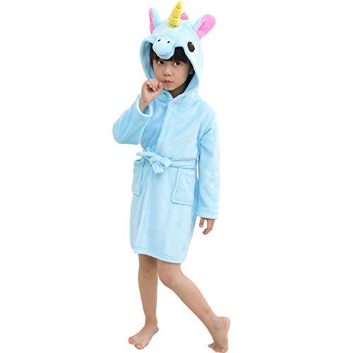 Mallalah Albornoz Unicornio Adecuada para Niñas, Niños, Franela, Pijamas, Pijamas de Dibujos Animados, Sudaderas. (Azul, 140)