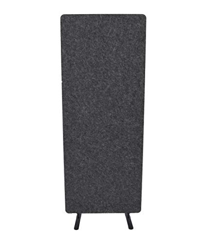 Stand Up Desk Store ReFocus Raw Freestanding Acoustic Desk Divider Privacy Panel to Reduce Noise and Visual Distractions (Anthracite Gray, 24  X 62 )
