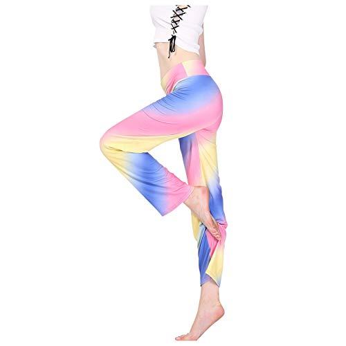 Lenfeshing Mujer Pantalones Estampados Tie Dye Sueltos Pantalón Cintura Alta Yoga Pants Pijama Verano Playa