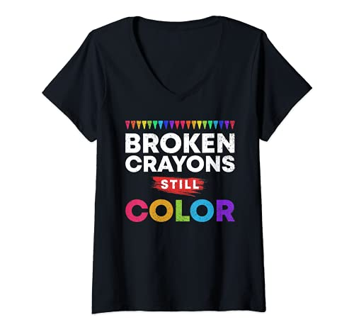 Womens Broken Crayons Still Color Supporter Mental Health Awareness V-Neck T-Shirt