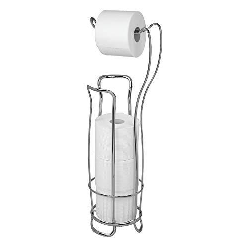 iDesign Portarrollos de pie, estrecho soporte de papel higiénico de metal con cesta para rollos de repuesto, dispensador de papel higiénico para 4 rollos, plateado