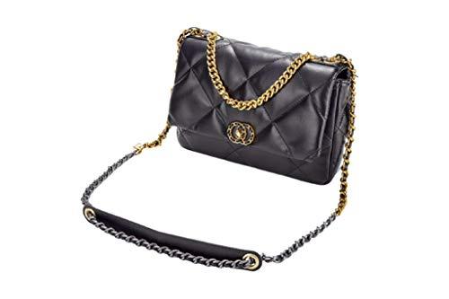 M-LO Umhängetasche-Kette Schulterriemen Crossbody Bag CC -Mode-Kette Tasche -Clutch Bag Schultertasche Leder Feste Schultertasche Multifunktionstasche 26x19x8 cm, Schwarz