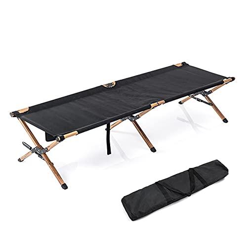 Gululu Cama Plegable portátil para Acampar, Cama de Acampada con Soporte de Aluminio, de Grano de Madera, para Viaje al Aire Libre, Individual, para Oficina,Negro