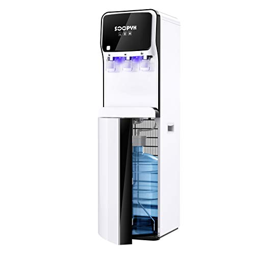 SOOPYK Water Dispenser, Bottom Load Water Cooler with Self Cleaning for 3-5 Gallon Bottle, 3 Temperatures Setting, Durable Steel Frame, Child Safety Lock, Removable Drip Tray for Home Office