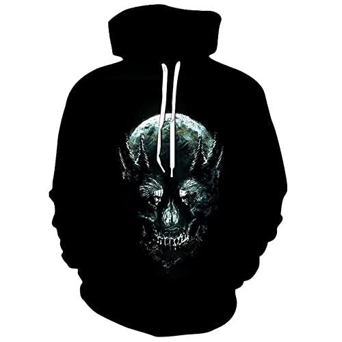 WXDSNH Sudaderas con Capucha De Halloween Unisex 3D Skull Raven Print Casual Pullovers Chaqueta De Hombre Sudadera Otoño Hombres / Mujeres Chándal Divertido Streetwear